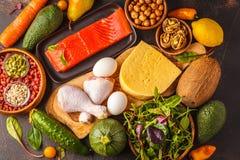 Keto能转化为酮的饮食概念 平衡的低碳食物背景 图库摄影