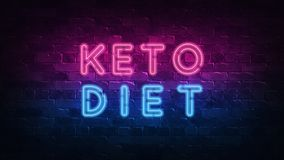 Keto έννοια διατροφής Πορφυρή και μπλε ΠΙΝΑΚΙΔΑ νέου σε έναν σκοτεινό τουβλότοιχο r διανυσματική απεικόνιση