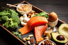 Keto συστατικά τροφίμων διατροφής Στοκ φωτογραφία με δικαίωμα ελεύθερης χρήσης