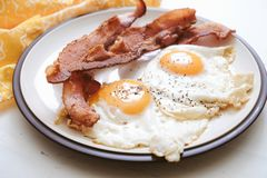 Keto bacon and eggs. Ketogenic breakfast of bacon and eggs stock image