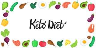 Keto diet banner. Ketogenic low carb and protein, high fat. Horizontal frame of fresh vegetables, fish, meat, nuts stock illustration