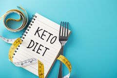 Keto diet on blue background royalty free stock image