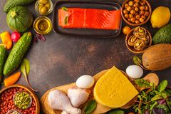 Keto ketogenic diet concept. High protein food, food frame bac. Keto diet concept. Balanced low-carb food background. Vegetables, fish, meat, cheese, nuts on a royalty free stock photography