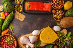 Keto ketogenic diet concept. High protein food, food frame bac. Keto diet concept. Balanced low-carb food background. Vegetables, fish, meat, cheese, nuts on a royalty free stock image