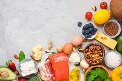 Keto diet concept. Ketogenic diet food. Balanced low-carb food background. Vegetables, fish, meat, cheese, nuts. On concrete background. top view royalty free stock photos