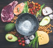 Keto diet foods. Empty rustic bowl with low carbs ingredients for clean eating and weight loss, copy space, top view. Keto foods: meat, fish, avocado, cheese royalty free stock images