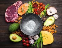 Keto diet foods. Empty rustic bowl with low carbs ingredients for clean eating and weight loss, copy space, top view. Keto foods: meat, fish, avocado, cheese stock photo