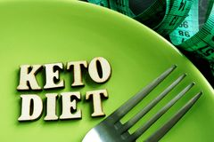 Keto diet on a green plate and measuring tape royalty free stock photo