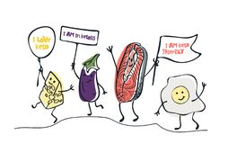 Keto diet hand drawn illustration. Cartoon cute cheese, eggplant, salmon, egg characters with lettering. Healthy ketogenic royalty free illustration