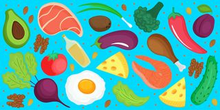 Keto diet. Ketogenic low carb and protein, high fat. Horizontal banner of fresh vegetables, fish, cheese, egg stock illustration