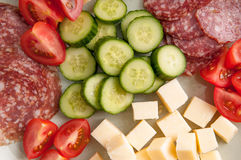 Keto diet lunch meat and cheese. Cheese and meat and vegetable ketogenic diet lunch Royalty Free Stock Photography