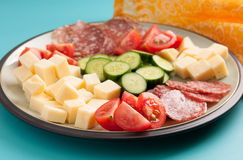 Keto diet lunch meat and cheese Stock Photos