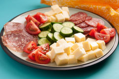 Keto diet lunch meat and cheese Royalty Free Stock Photos