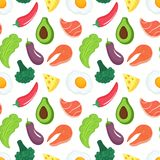 Keto diet seamless pattern. Ketogenic food with organic vegetables, meat and fish. Low carb nutrition. Paleo protein vector illustration