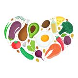 Keto foods: vegetables, nuts, meat, fish. Heart shaped banner. Ketogenic nutrition stock illustration