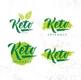 Keto Friendly Diet Nutrition Vector Design Elements On Rough Organic Textured Background. Keto Friendly Diet Nutrition Vector Design Elements On Rough Organic royalty free illustration