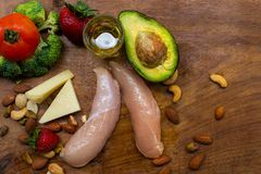 Keto ingredients on the wooden table royalty free stock photography