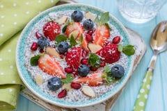 Keto ketogenic, каша завтрака овсяной каши диеты карбюратора paleo низкая не Пудинг Chia кокоса с ягодами, семенами гранатового д Стоковые Фото