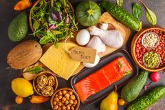 Keto ketogenic diet concept. Balanced low-carb food background. Keto diet concept. Balanced low-carb food background. Vegetables, fish, meat, cheese, nuts on a stock photography