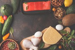 Keto ketogenic diet concept. High protein food, food frame bac. Keto diet concept. Balanced low-carb food background. Vegetables, fish, meat, cheese, nuts on a royalty free stock photo