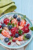 Keto ketogenic, paleo low carb diet not oatmeal breakfast porridge. Coconut Chia Pudding with berries, pomegranate seeds. Keto ketogenic, paleo low carb diet not stock image