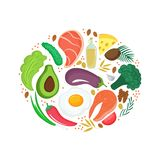 Keto nutrition. Ketogenic diet banner with organic vegetables, nuts and other healthy foods. Low carb dieting vector illustration