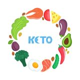 Keto nutrition. Ketogenic diet round frame with organic vegetables, fruits, nuts and healthy foods. Low carb dieting royalty free illustration