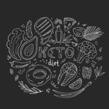 Keto paleo diet hand drawn banner. Ketogenic food low carb and protein, high fat. Healthy eating in doodle style. Chalked on a vector illustration