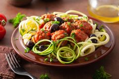 Keto paleo zoodles zucchini noodles with meatballs and olives royalty free stock image