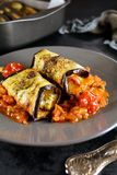 Keto Vegan Eggplant Cannelloni With Tofu And Low Carb Tomato Sauce Stock Images