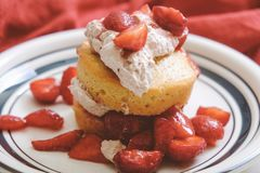 Ketogenic almond cake strawberry shortcake royalty free stock photography