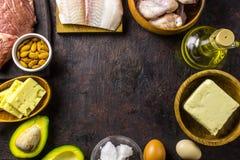 Ketogenic banta mat Allsidig låg-carb matbakgrund   arkivfoto