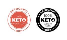 Ketogenic banta symbolen Procent keto för vektor 100 bantar etikettstämpeln vektor illustrationer