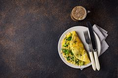 Keto low carb omelet and bulletproof coffee. Ketogenic breakfast. Keto low carb omelet with green vegetable and bulletproof coffee stock images