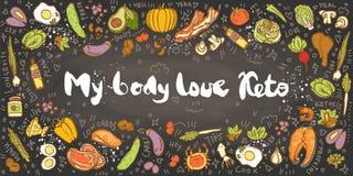 Ketogenic de bannerillustratie van de Dieet vectorschets Mijn Keto van de Lichaamsliefde Gezond concept met voedselillustratie op stock illustratie