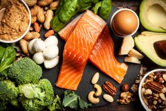Keto diet food ingredients. Ketogenic diet concept - low carb healthy food royalty free stock photos
