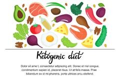 Ketogenic diet horizontal banner. Low carb dieting Paleo nutrition. Keto meal protein and fat stock illustration