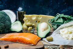 KETOGENIC DIET. Low carbs hight fat products. Healthy eating food, meal plan protein fat. Healthy nutrition. Keto lunch. Ketogenic diet breakfast royalty free stock photos