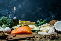 KETOGENIC DIET. Low carbs hight fat products. Healthy eating food, meal plan protein fat. Healthy nutrition. Keto lunch. Ketogenic diet breakfast royalty free stock photo