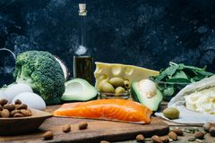 KETOGENIC DIET. Low carbs hight fat products. Healthy eating food, meal plan protein fat. Healthy nutrition. Keto lunch. Ketogenic diet breakfast royalty free stock photography