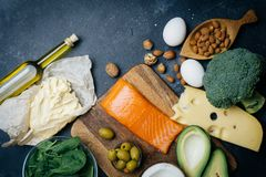 KETOGENIC DIET. Low carbs hight fat products. Healthy eating food, meal plan protein fat. Healthy nutrition. Keto lunch. Ketogenic diet breakfast royalty free stock images