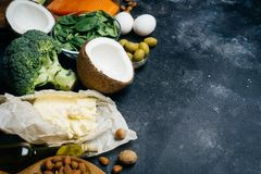 KETOGENIC DIET. Low carbs hight fat products. Healthy eating food, meal plan protein fat. Healthy nutrition. Keto lunch. Ketogenic diet breakfast stock photo