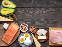 Ketogenic diet products with copyspace in right top corner. Selection of Ketogenic diet products on wooden background with copyspace in right top corner stock photo