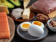 Ketogenic diet products on wooden background. Closeup of Ketogenic diet products on wooden background stock photos