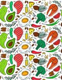 Ketogenic diet seamless pattern in hand drawn doodle style. Low carb dieting. Paleo nutrition. Keto meal protein and fat royalty free illustration