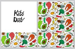 Ketogenic diet vertical banner in hand drawn doodle style. Low carb dieting. Keto seamless pattern.  vector illustration