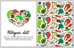 Ketogenic diet vertical banner in hand drawn doodle style. Low carb dieting. Paleo nutrition. Keto seamless pattern. royalty free illustration