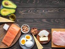 Ketogenic dieta produkty z copyspace w dobro wierzchołku osaczają zdjęcie stock