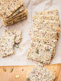 Ketogenic low carb crackers. Alternative to bread royalty free stock photo