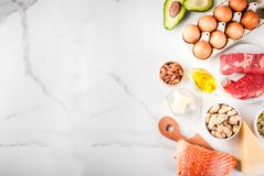 Ketogenic low carbs diet ingredients. Ketogenic low carbs diet concept. Healthy balanced food with high content of healthy fats. Diet for the heart and blood Stock Image
